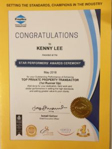 Kenny Lee top resale achiver propnex
